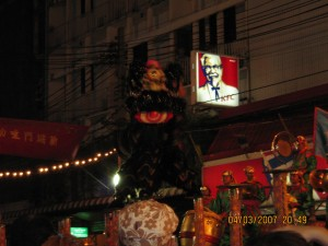 Lion dance show at Khao San road Bangkok