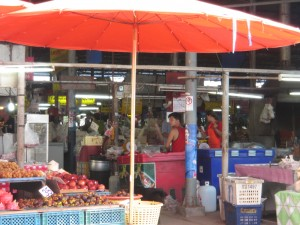 Phayao town in Thailand - day market