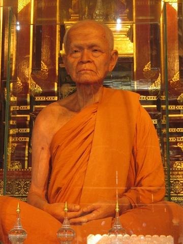 Ajahn Maha Bua wax statue in Wat Chedi Luang