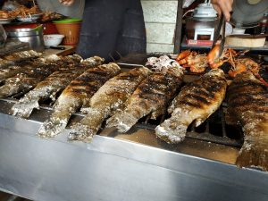 Amphawa shop with grilled fish and prawns